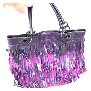 Coach Extra Large Purple Plum Suede Fringe Tote